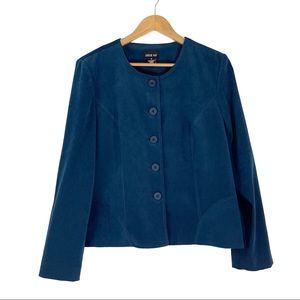 Leslie Fay Women's Size 12 Large Blue Suede Jacket